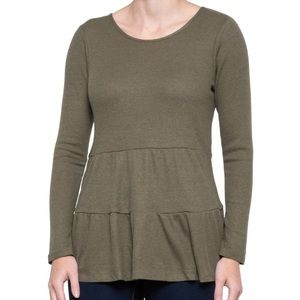 Jane and Delancey Tiered Thermal Shirt dark olive